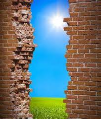 Image - Sun shining through broken brick wall